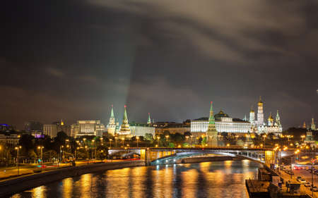 Moscow, Russia - September 19    The central part of the city at night with views of the Kremlin and the Moscow-River Stock Photo