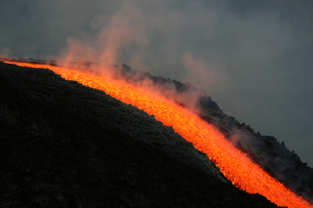 Lava flow on etna volcano