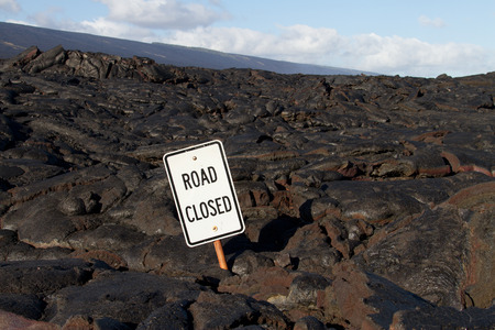 igneous: Lava blocked the road in Hawaii
