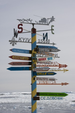 polar station: Sign post, antarctica