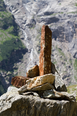 Signpost made with stones photo