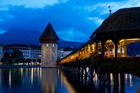 wody wieży: Most kaplica i wieża ciśnień Zdjęcie Seryjne