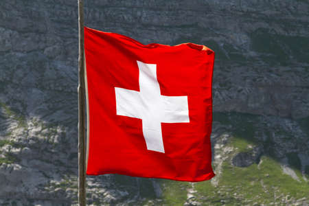 ch: Swiss flag Stock Photo
