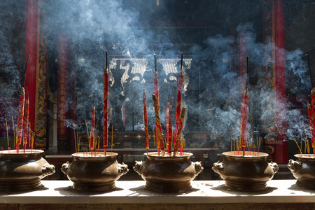 Incense in a chinese temple Stock Photo