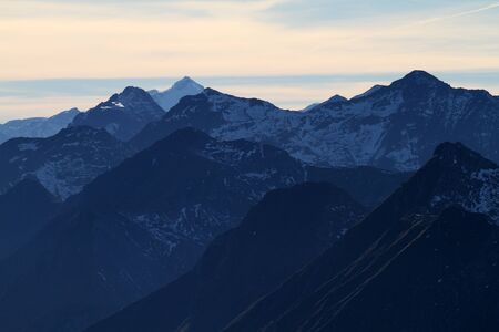 mountaintops: Evening light in the alps