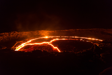 eruption: Eruption of Volcano Erta Ale, Ethiopia Stock Photo