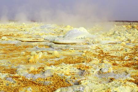 sulphur: Inside the explosion crater of Dallol volcano, Danakil Depression, Ethiopia