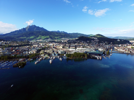 Aerial view, Lucerne with Mount Pilatus, Switzerland Stok Fotoğraf