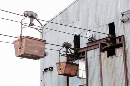 spitsbergen: Old cable car for coal transportation in Longyearbyen, Spitsbergen, Svalbard, Norway