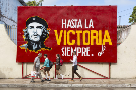 Cardenas, Cuba - November 26th, 2015: Street sign with Che Guevara, EDITORIAL