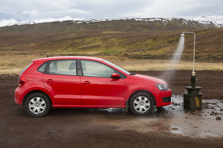 Krafla, Iceland, November 30th 2014, Funny Car wash in Icelandic way, not quite serious