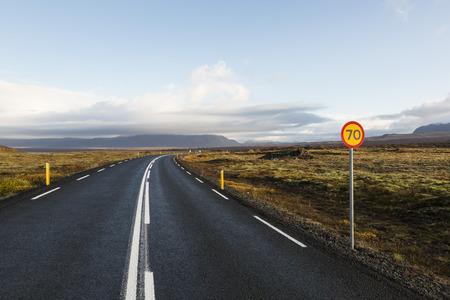 Ringweg of # 1 weg van IJsland. Stockfoto