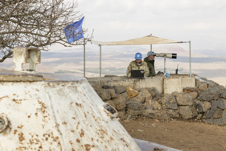 syria peace: Golan Heights, Israel, December 22, 2016: The peacekeeper from the UN forces Editorial