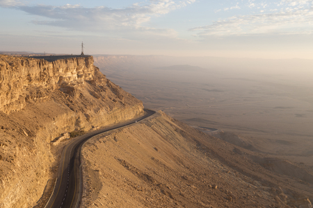 arava: View of Makhtesh Ramon Crater, Negev Desert, Israel Stock Photo
