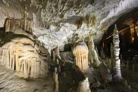 Postojna cave, Slovenia. Formations inside cave with stalactites and stalagmites