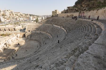 アンマン, ヨルダン, 2015 年 12 月 22 日、アンマンの古代ローマ円形劇場