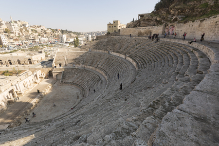 Amman, Jordan, December 22nd, 2015, Ancient roman amphitheatre in Amman
