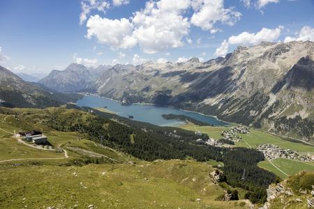 Valley of the beautiful Engadin with lake Lej da Segl, Graubunden, Switzerland