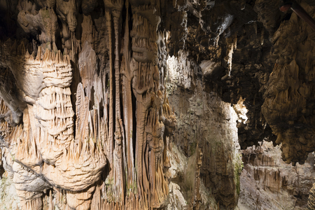 World famous cave Postojna in Slovenia with stalactites and stalagmites