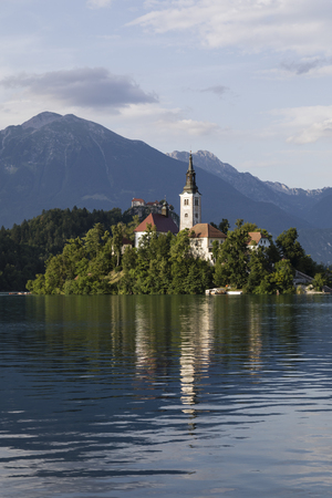 Lake Bled Slovenia. Beautiful mountain lake with small Pilgrimage Church