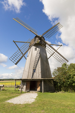 Old windmill in Angla Heritage Culture Center. A Dutch-style windmills at Saaremma island Estonia Stock Photo