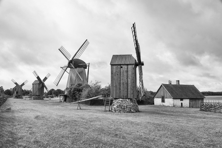 Traditional wooden windmills of Saaremaa island, Estonia