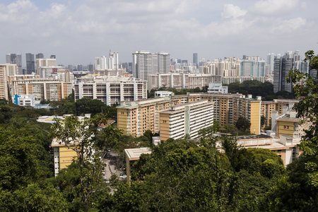 SINGAPORE, DECEMBER 10, 2017: View of Singapore from Mount Faber park