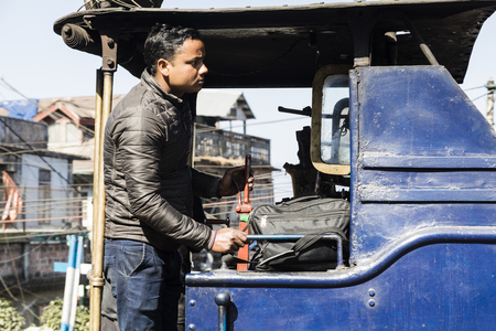 Darjeeling, India, March 3 2017: Prepare the steam locomotive for the drive from Darjeeling to ghoom with the famous toy train