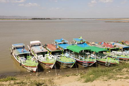 Bagan, Myanmar, December 27 2017: Boat jetty of the irrawaddy river in bagan