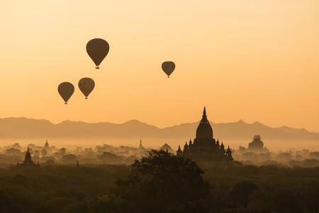 BAGAN, MYANMAR, JANUARY 2, 2018: Scenic sunrise over the ancient Temples in Bagan, Myanmar Editorial
