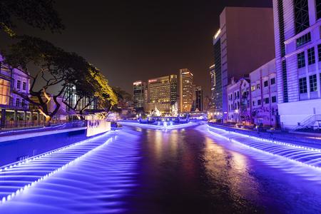 KUALA LUMPUR, MALAYSIA, December 15, 2017: Panoramic view of River of Life Kolam Biru water and light display from Jln Raja, Kuala Lumpur Editorial