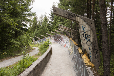 Sarajevo, Bosnia-Herzegovina, July 16 2017: The former 1984 Olympic bobsleigh and luge run in the mountains outside of Sarajevo