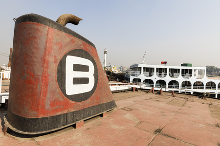 Dhaka, Bangladesh, February 24 2017: Ship cemetery in Dhaka Bangladesh, where old rusty ships are waiting to be scrapped