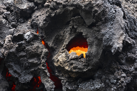 Close-up of a lava flow of volcano Kilauea on Hawaii Фото со стока