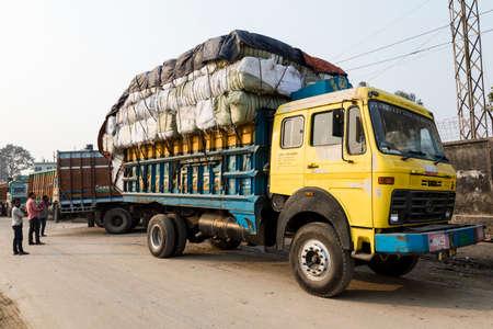 Burimari, Bangladesh, March 3 2017: Trucks in Burimari, a border town between Bangladesh and India are waiting for clearance Editorial