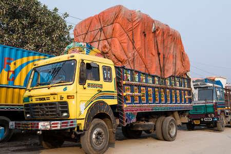 Burimari, Bangladesh, March 3 2017: Trucks in Burimari, a border town between Bangladesh and India are waiting for clearance