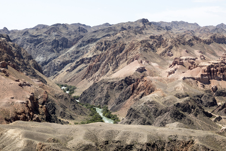Beautiful view of the Charyn Canyon in the Almaty region of Kazakhstan with its reddish sandstone cliffs