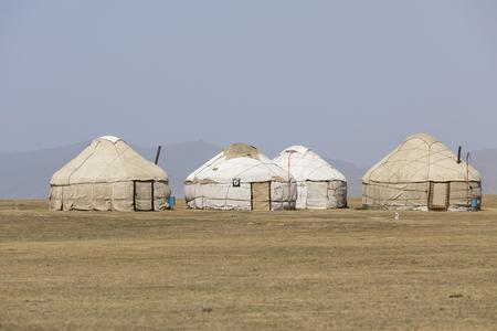 Traditional Yurt Camp at Song Kul Lake in Kyrgyzstan