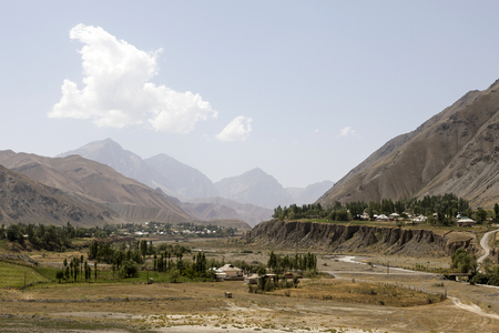 Village with landscape around the famous Pamir Highway M41 in Kyrgyzstan in Central Asia