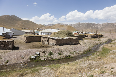 Sary-Tash border town in Kyrgyzstan to neighboring Tajikistan on the Pamir Highway in Central Asia