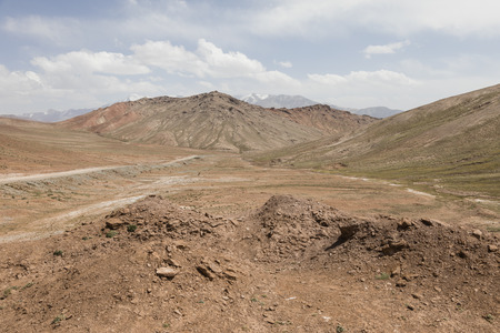 Landscape in the Pamir Mountains at the foot of Peak Lenin in Kyrgyzstan