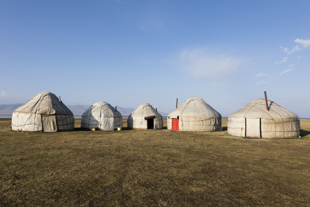 A yurt settling in the Tian Shan mountains at Song Kul lake in Kyrgyzstan
