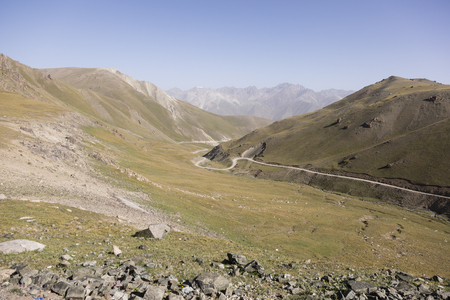 Landscape on the way from Kochkor to Song Kul lake in Kyrgyzstan Imagens