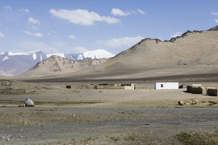 The small town Karakul on the Pamir Highway in Tajikistan