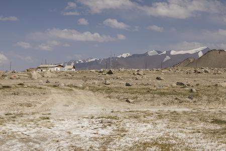 The small town Karakul on the Pamir Highway in Tajikistan