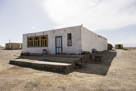 Karakul, Tajikistan, August 22 2018: Traditional House in Karakul town in the pamir mountains in Tajikistan