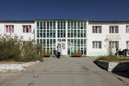 Murghab, Tajikistan, August 23 2018: The only major hotel in Murghab on the route of the Pamir Highway Editorial