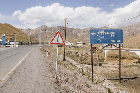 Sary-Tash, Kyrgyzstan August 21 2018: Sary-Tash border town in Kyrgyzstan to neighboring Tajikistan on the Pamir Highway in Central Asia