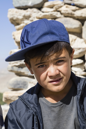 Vrang, Tajikistan August 24 2018: Portrait of a boy in Vrang in the Wakhan valley in Tajikistan