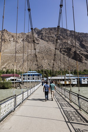 Khorog, Tajikistan August 25 2018: Bridge over the Gunt River in Khorog in Tajikistan